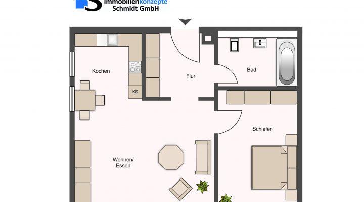 2 Zimmer I Erdgeschosswohnung I Vermietet I55m² Wohnfläche floorplan 1